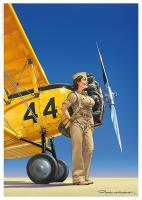 Rayon : Affiches, Série : Pin Up Wings, Pin Up : Avion N3N (21 x 29,7 cm) (Signée)