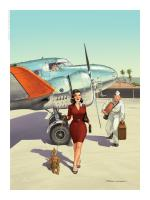 Rayon : Affiches, Série : Pin Up Wings, Pin Up : Chien (30 x 40 cm) (Signée)